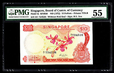 Singapore $10 ND 1972 P. 3c KNB3d PMG 55 AU Note Without Seal