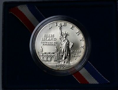 1986 P US Statue of Liberty Silver Dollar $1 Uncirculated KM# 214 Case & COA