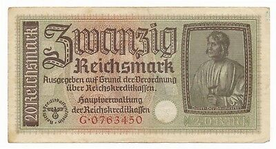 Germany 1939 -1944 Nazi Note 20 Marks VF