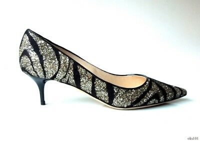 0724506a2b4c JIMMY CHOO ISABEL Pump Champagne Glitter Fabric Heels Shoes Size US ...
