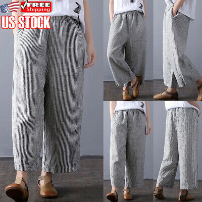 aa389420ee9e5 Womens Plus Size Wide Legs Loose Harem Pants Cotton Linen Baggy Striped  Trousers