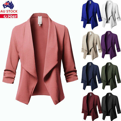 Plus Size Women Waterfall Cardigan Ladies 3/4 Sleeve Blazer Suit Jacket Coat