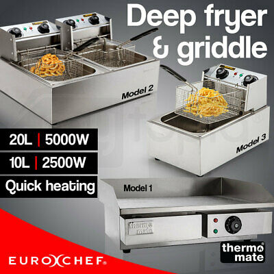 Electric Griddle Deep Fryer Commercial BBQ Grill Plate Single Twin Frying Cooker