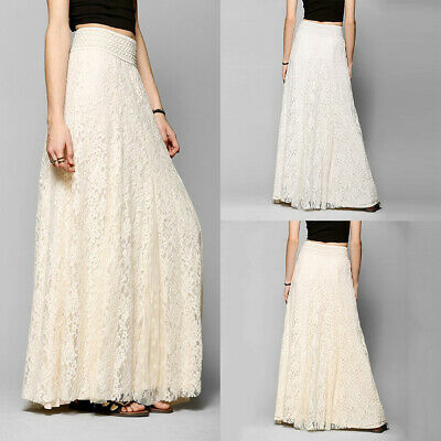 Women Ladies Lace Long Maxi Dress Elastic High Waist Beach Pleated Swing Skirt