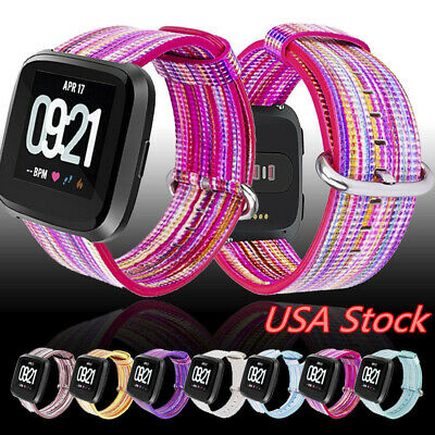 For Fitbit Versa Printing PU Leather Wristband Classic Buckle Band Strap 22mm US