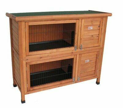 BUNNY BUSINESS doble Hutch conejo/Guinea Hutch Run con funda DELUXE gallinero,