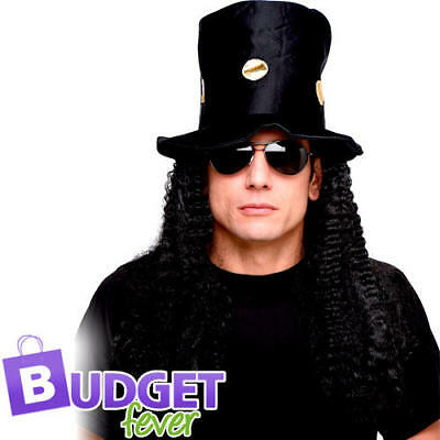 48a0dc491a Top Hat with Wig Mens Fancy Dress Slash Guns   Roses Celebrity Costume  Accessory
