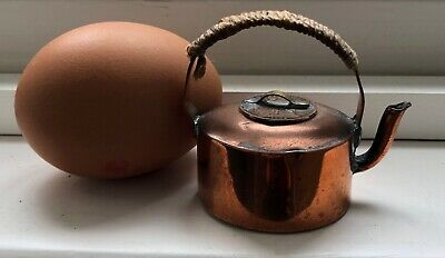 Antique Vintage Dolls House Miniature Copper Kettle 1929 Farthing Coin Lid