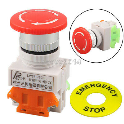 AC 660V 10A Red Mushroom Cap 1NO 1NC DPST Emergency Stop Push Button Switch