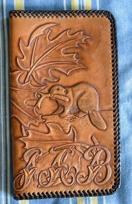 Tooled Brown Leather Wallet with Beaver & Maple Leaves, Edge Stitching EX COND