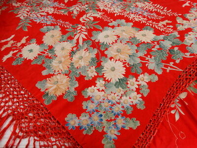 1920's Flapper Red SILK PIANO SHAWL Oriental Floral Long Fringe AS IS