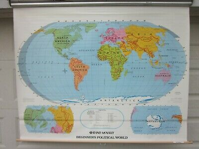 "Vintage world ""political"" Pull Down Map By Rand Mcnally 114121958"