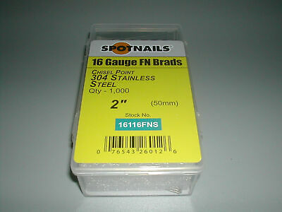 "STAINLESS 2"" Finish Nails 20 Degree 16 Gauge for Paslode Dewalt Nailers (1,000)"