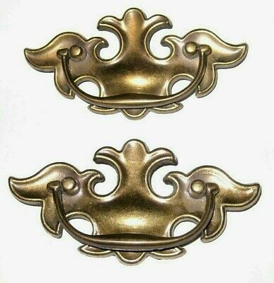 Lot of 2 Vintage Ornate Brass tone Ornate Dresser Desk Drawer Pulls / Handles