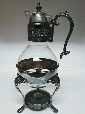 Vintage Leonard Glass Carafe Pitcher Silverplate Stand Holder 2 PC