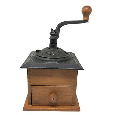 Cast Iron Metal Hand Crank Solid Wood Vintage Coffee Grinder