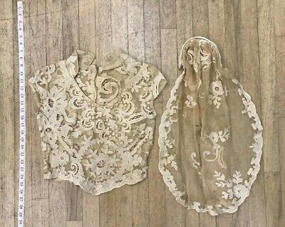 Antique Cream Colored Floral Bridal Lace and linen Bodice & Veil As Is