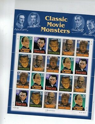 #3168-72 1997 32-cent Classic Movie Monsters se-tenant sheet of 20
