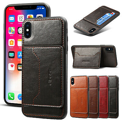 For iPhone XS Max XR X Case Slim Leather Card Pocket Stand Flip Shockproof Cover