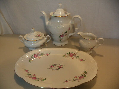 Royal Kent Poland Floral Rose Embossed Gold Gilt Porcelain Tea Pot Set Platter!
