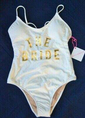 cfbb3d3b6670e NEW Vanilla Beach THE BRIDE White Gold Logo One Piece Swimsuit XL Extra  Large