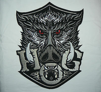 HOG WILD BOAR XXL Iron on/Sew on Patch Biker Motorcycle 12 INCH