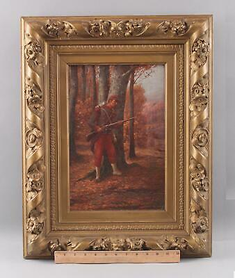 Antique OLDRICH FARSKY 19thC French Soldier Guard, Landscape Oil Painting