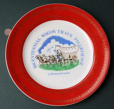 1976 Bicentennial Wagon Train Pilgrimage to Pennsylvania fine china plate-SWEET*