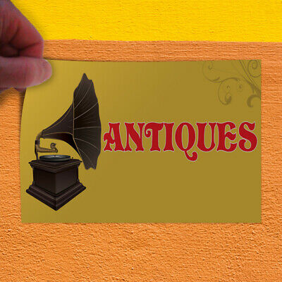 Decal Sticker Antiques #2 Vintage Antique Music Box Outdoor Store Sign Yellow