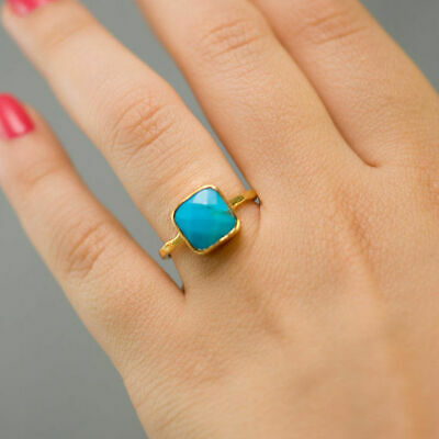 Antique Turquoise Wedding Engagement 18K Gold Filled Ring Vintage Jewelry