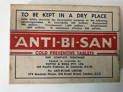 VINTAGE CHILDRENS COLD prevention tablets BOX-ANTI-BI-SAN-1930's?Chemist Shop