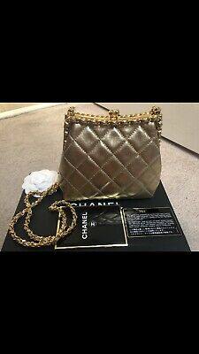 d32019f8db14 RARE! AUTHENTIC! CHANEL Vintage Kiss Lock Bag - Gold - $2,500.00 ...