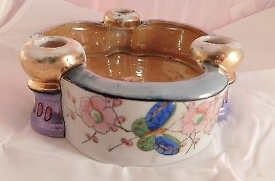 Vintage Lustreware Japan Seiei & Co. Bird in Circle Candle Holder