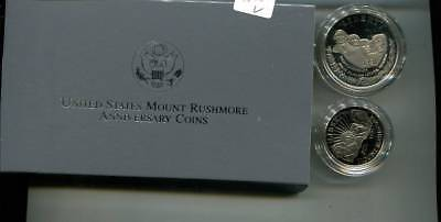 1991 Mount Rushmore Commemorative 2 Coin Set Proof Original Box + Coa 3838L