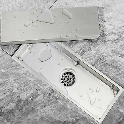 304 Stainless Steel Shower Floor Drain with Tile Insert Grate 11.8-inch Long