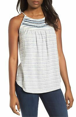 """LUCKY BRAND $50 """"Stripe Mix"""" Embroidered Flirty Cutout Blouse Top XL NWT"""