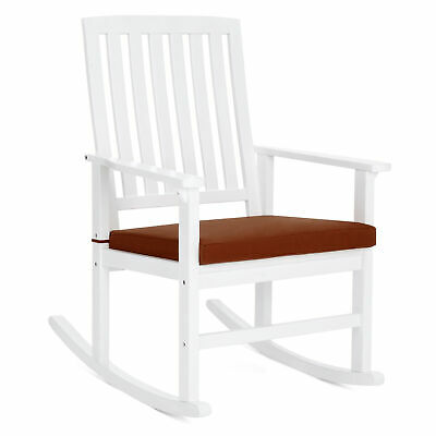 BCP Wood Rocking Chair for Indoor, Outdoor w/ Cushion, Sloped Seat, Curved Back