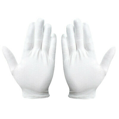 12Pairs White Cotton Glove Inspection Jewelry Coin Film Handling Clean Gloves AU
