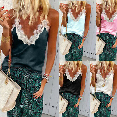 Women Summer Lace V Neck Strappy Vest Tank Top Ladies Casual Loose Blouse Tee