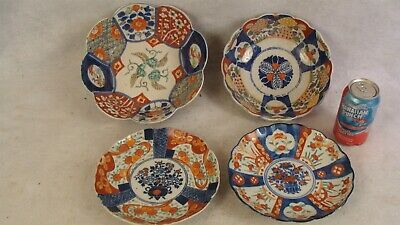 4 Antique Japanese Imari Porcelain Scallop Rim Footed Bowls