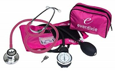 Stethoscope And Manual Adult Blood Pressure Cuff Kit Sphygmomanometer BP Pink