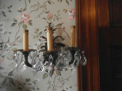 Vintage Ornate 3 Arm Brass Victorian Electric Wall Sconce  W/Prisms Lovely