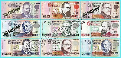 URUGUAY UNC 9 PCS SET 1000 to 500,000 NUEVOS PESOS 1989 - 1992 P.67a to 73a