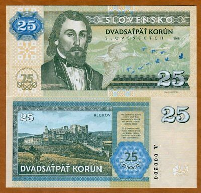 Slovakia, 25 Korun, 2018 Private Issue, Essay > commemorative, 25th anniversary