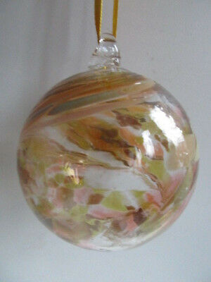 Glass Mouth Blown Spirit or Friendship Ball Golden Swirls 8cm Boxed Ideal Gift