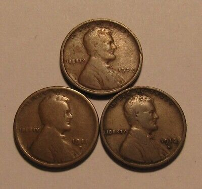 1909 1911 D 1912 D Lincoln Cent Penny - Mixed Condition - 4SA