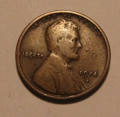 1914 S Lincoln Cent Penny - Fine Condition - 9SA