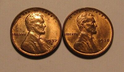 1937 S & 1938 Lincoln Cent Penny - Red/Brown AU+/BU Condition - 24SA