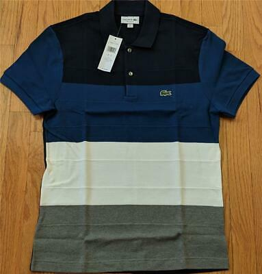 48eef5dba915cc  125 Mens Authentic Lacoste Colorblocked Pique Polo Shirt Blue Stone 3  (Small)
