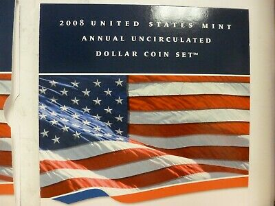 2008 United States Mint Annual Uncirculated. Dollar Coin Set w/ CoA